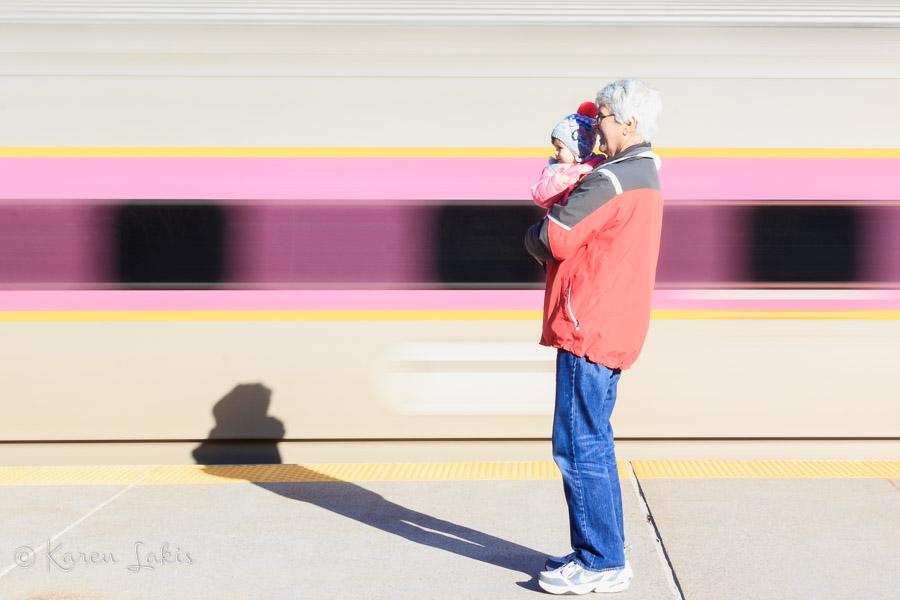 Greg and Ella at the train station