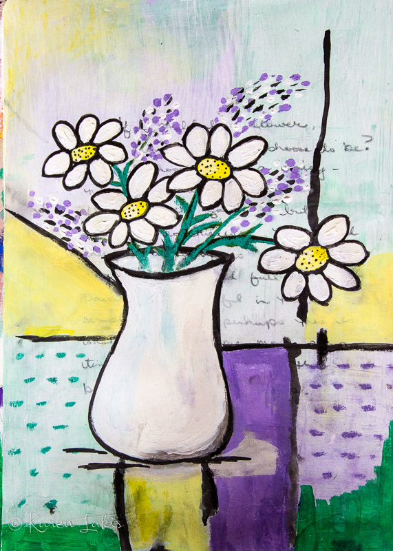 art journal page-vase of daisies