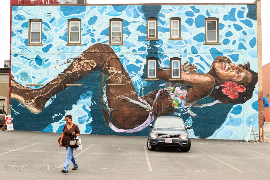 Mural of a girl swimming