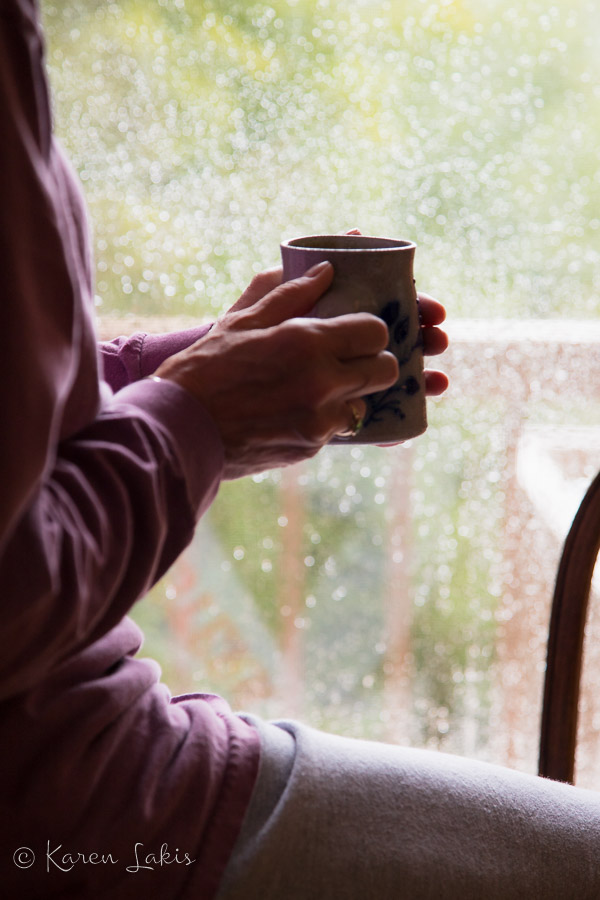 cup of coffee on a rainy morning
