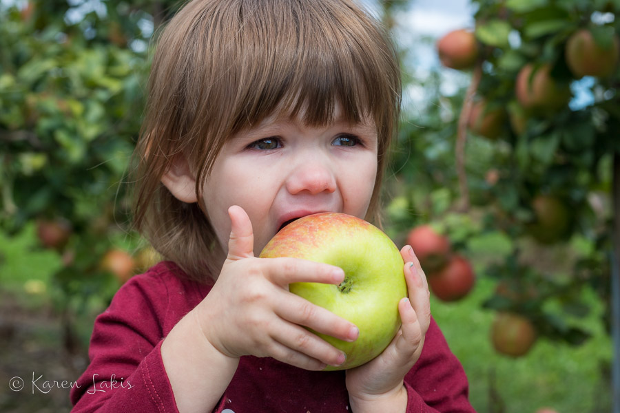 Ella, eating an apple