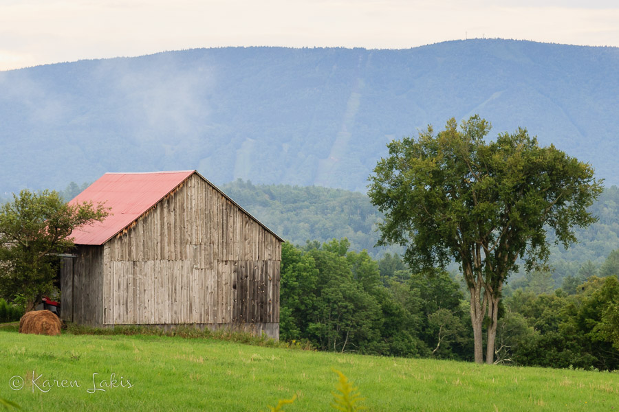Vermont barn in the evening