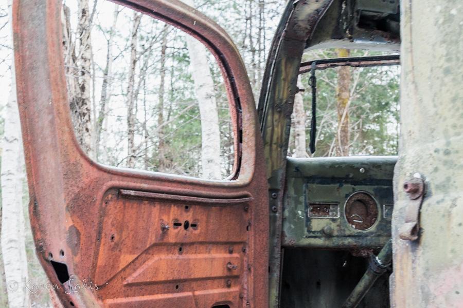rusty door of abandoned truck