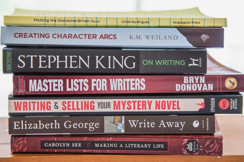 pile of writing books
